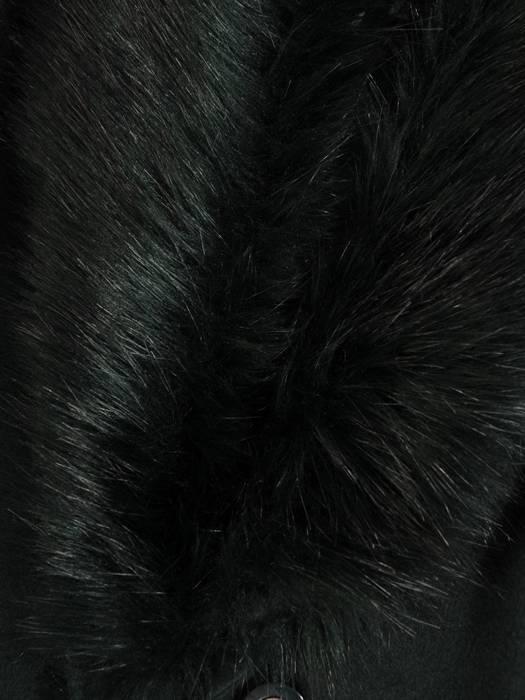 Płaszcz zielony z futrzaną etolą i wiązanym paskiem 27785