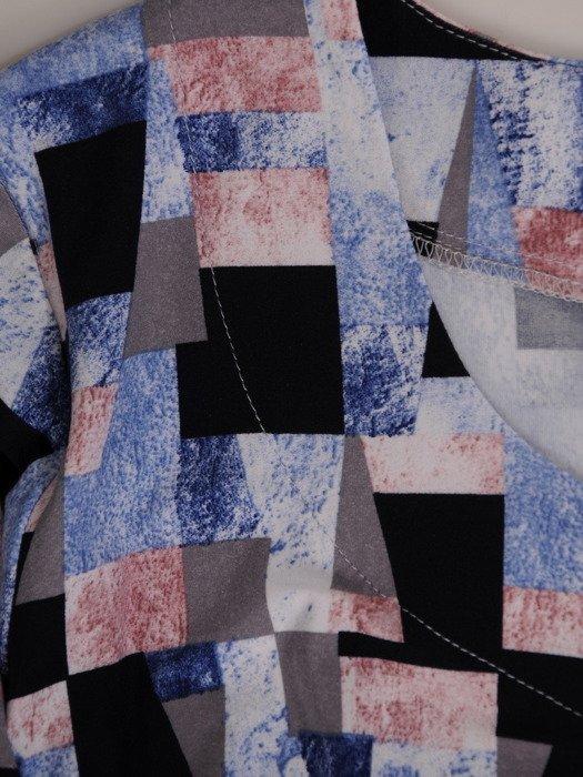 Plisowana sukienka w geometrycznym wzorze, kreacja z bawełny 19897