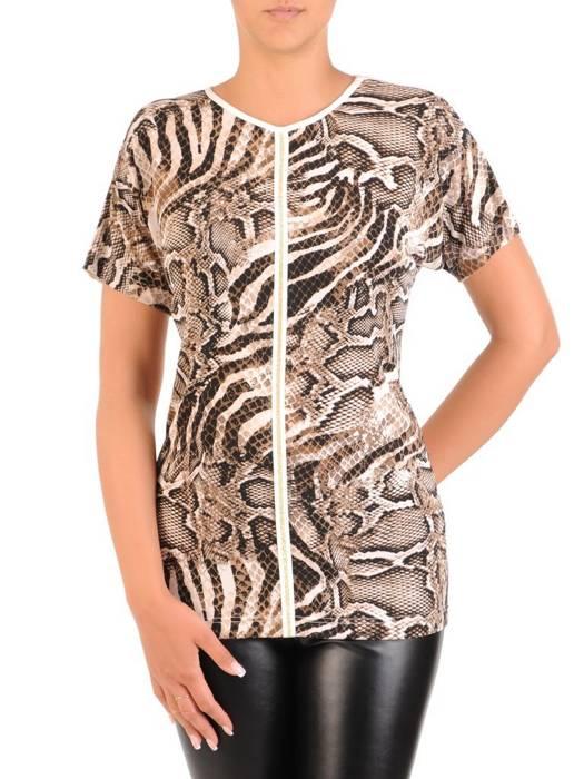 Prosta bluzka w modny, zwierzęcy wzór 30208
