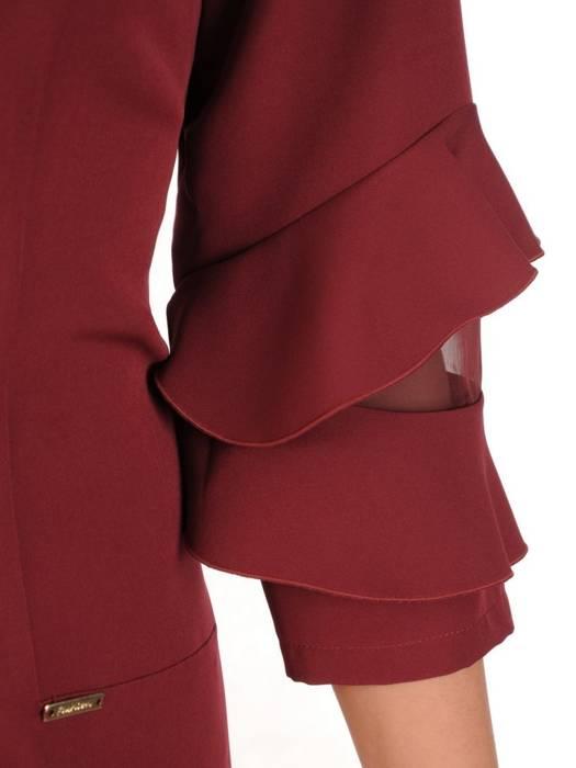 Prosta bordowa sukienka z falbankami na rękawach 28324