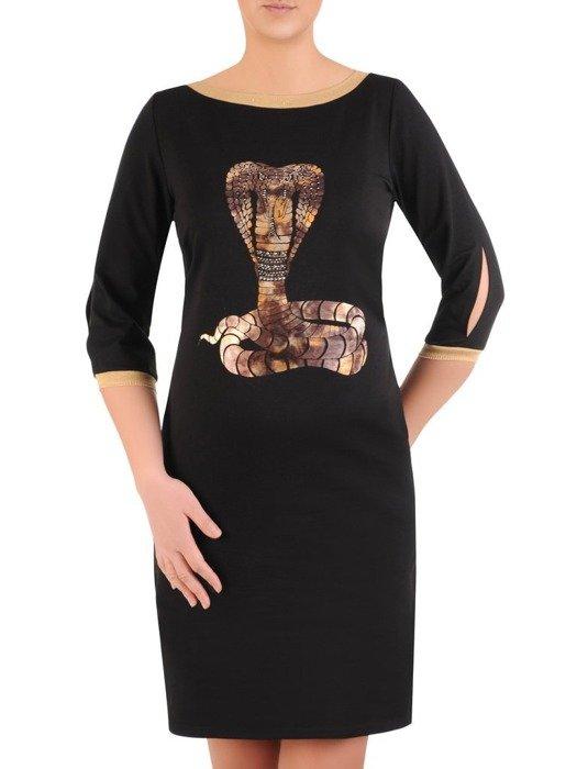 Prosta czarna bawełniana sukienka z aplikacją 25306