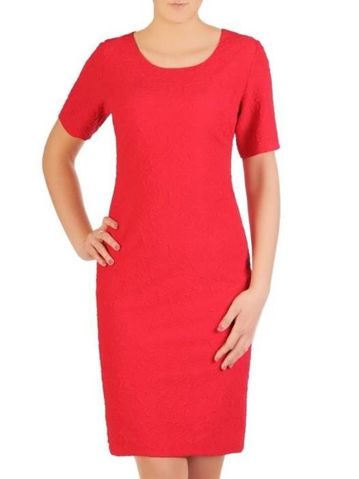 Prosta, czerwona sukienka żakardowa 29227