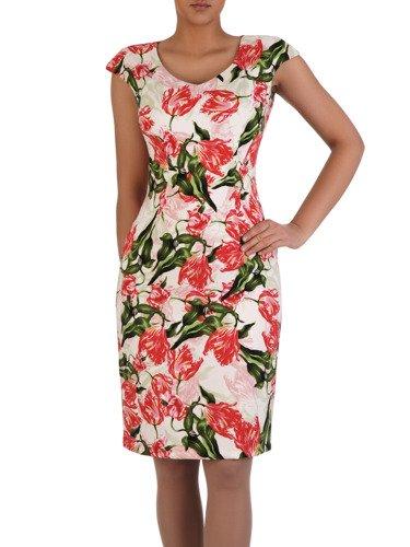 Prosta sukienka w kolorowe kwiaty 15817, modna kreacja bez rękawów.
