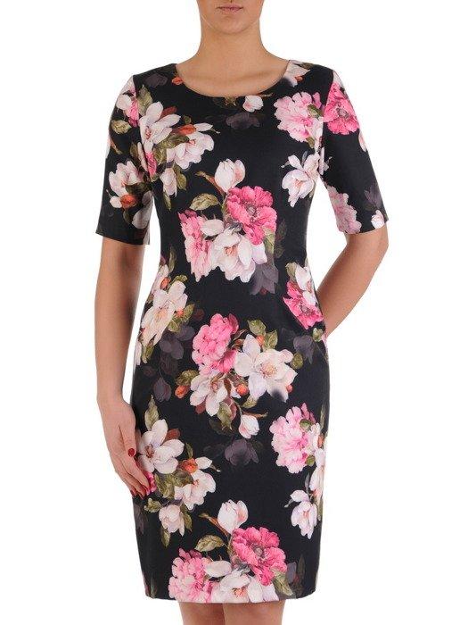 Prosta sukienka w kwiaty, elegancka kreacja w nasyconych kolorach 19536