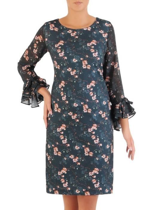 Prosta sukienka w kwiaty z finezyjnymi rękawami, na każdą okazję 26980