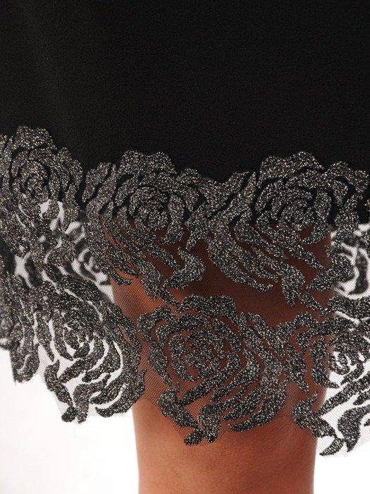 Prosta sukienka wieczorowa, kreacja z koronkowymi wstawkami 24308