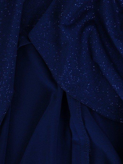 Prosta sukienka z asymetryczną, brokatową narzutką 23439