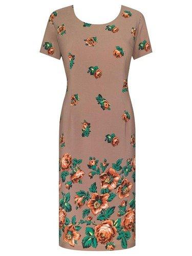 Prosta sukienka z atrakcyjnym nadrukiem Róża V, wiosenna kreacja w klasycznym fasonie.