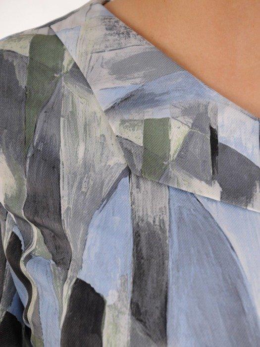 Prosta sukienka z ciekawym wzorem, wiosenna kreacja z guzikami 25022