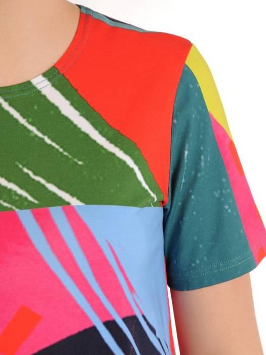 Prosta sukienka z dzianiny bawełnianej, letnia kreacja z kieszeniami 30087