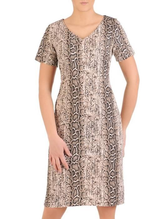 Prosta sukienka z dzianiny, kreacja w zwierzęcym wzorze 28977