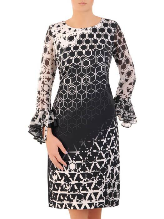 Prosta sukienka z finezyjnymi rękawami, kreacja na każdą okazję 31185