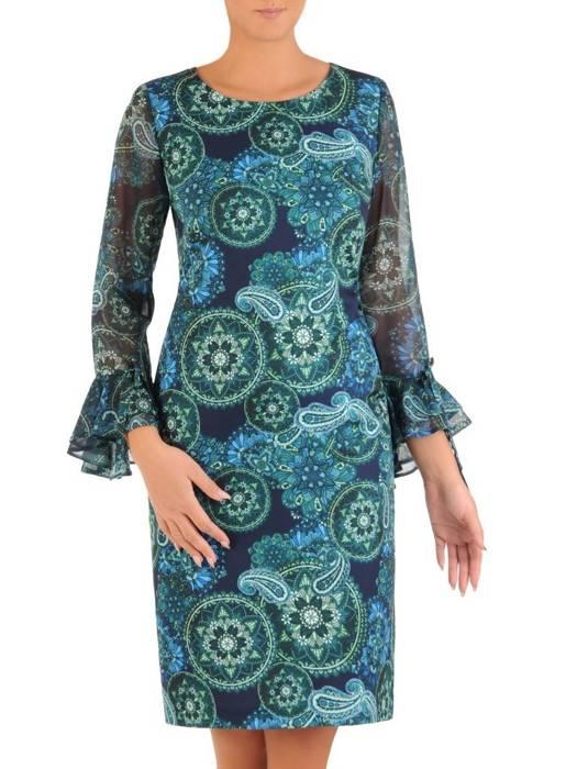 Prosta sukienka z finezyjnymi rękawami, na każdą okazję 27570