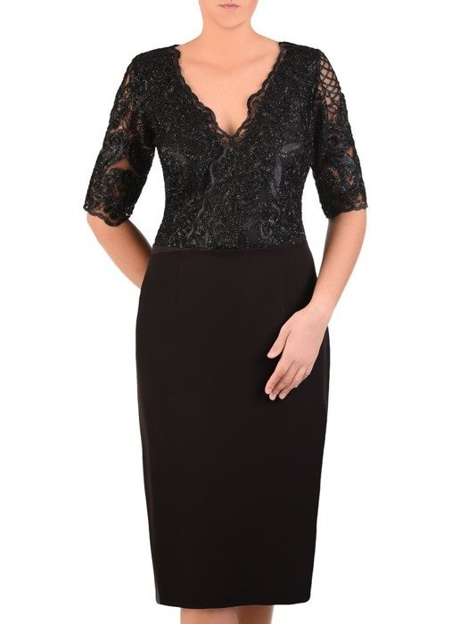 Prosta sukienka z kopertowym dekoltem, kreacja z koronkowym topem 22530