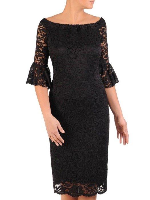 Prosta sukienka z koronki, kreacja z ozdobnymi rękawami 22582