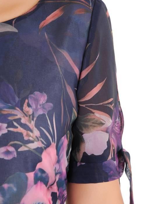 Prosta sukienka z szyfonu, kreacja w kwiaty z wiązaniem na rękawach 30485
