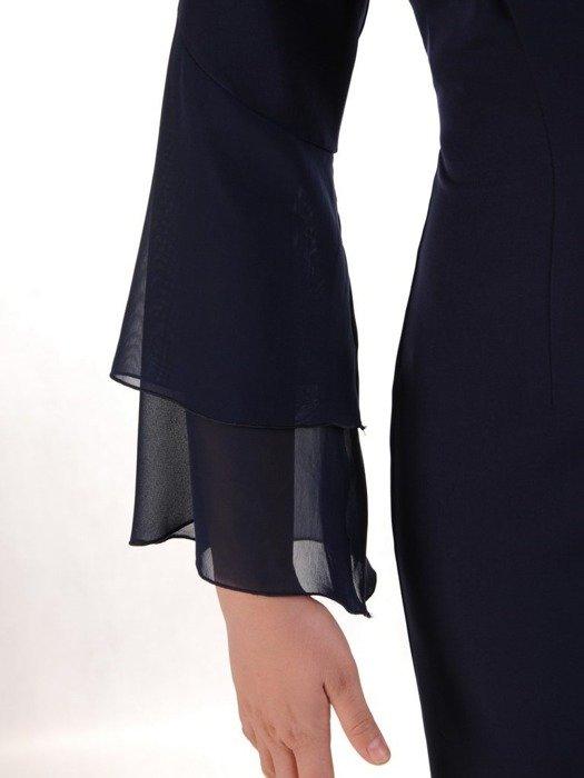 Prosta sukienka z tkaniny, kreacja z falbanką przy dekolcie i szyfonowymi rękawkami 25148