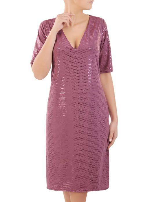 Prosta wrzosowa sukienka damska, kreacja z połyskującego materiału 30890