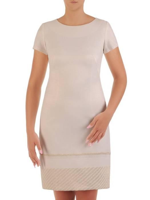 Prosta, żakardowa sukienka w jasnym kolorze 26416