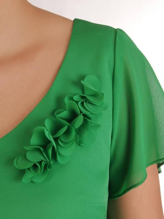 Prosta zielona sukienka z aplikacją 28192