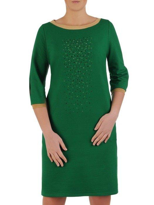 Prosta zielona sukienka z aplikacją na przodzie 25196