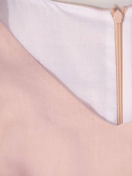 Pudrowa sukienka z lnu, letnia kreacja z kokardą 30004