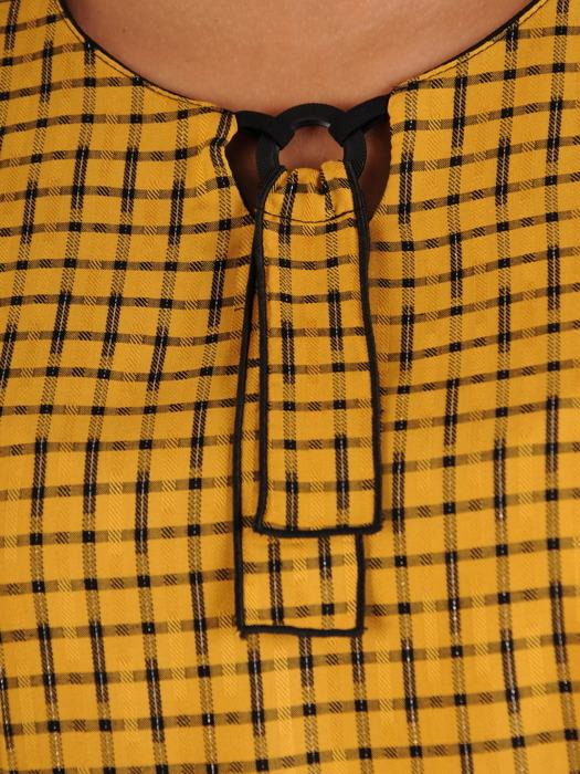 Romantyczna bluzka w kontrastową kratkę 22932