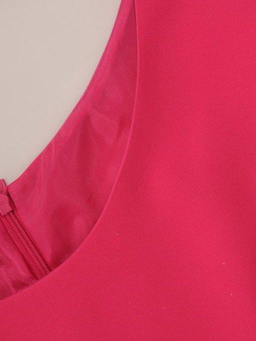 Rozkloszowana, amarantowa sukienka z ozdobną kokardą 26769
