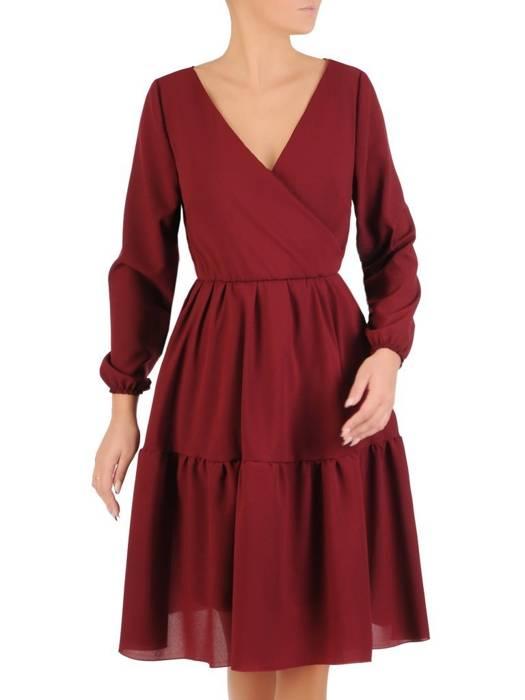 Rozkloszowana bordowa sukienka, kreacja z kopertowym dekoltem 27835