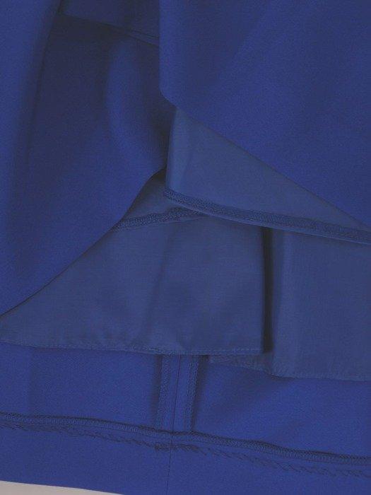Rozkloszowana, chabrowa sukienka z ozdobną kokardą 26768