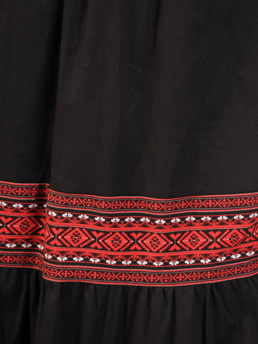 Rozkloszowana spódnica z tkaniny bawełnianej z ozdobnymi wstawkami 31170