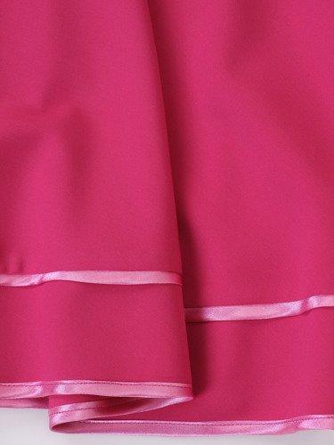 Rozkloszowana sukienka na wesele Denis, kreacja ozdobiona tasiemkami.