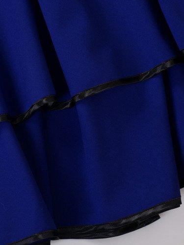 Rozkloszowana sukienka na wesele Karmenita I, chabrowa kreacja z oryginalnym dekoltem.