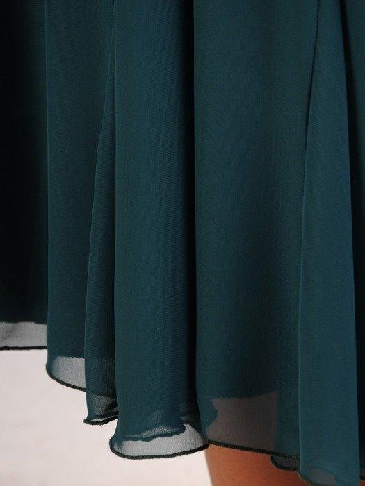 Rozkloszowana sukienka na wesele, zwiewna kreacja z koronki i szyfonu 22691