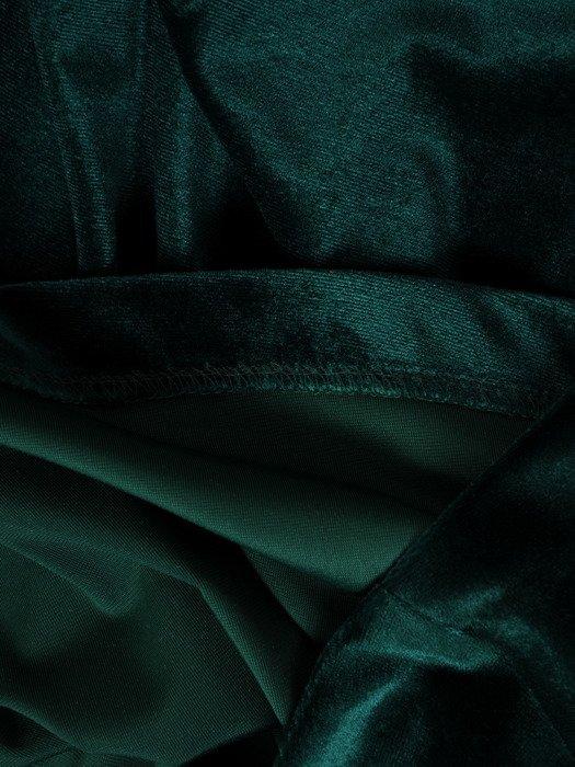 Rozkloszowana sukienka z aksamitu, kreacja w kolorze zielonym 18929