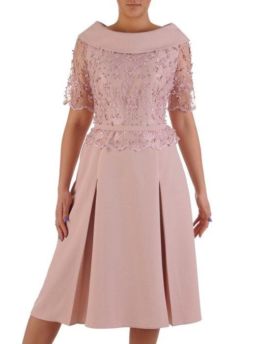 Rozkloszowana sukienka z eleganckim golfem, piękna kreacja wykończona koronką 20165