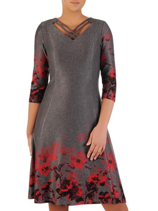 Rozkloszowana sukienka z eleganckim nadrukiem 22673