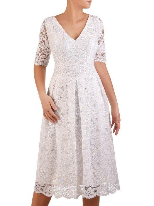 Rozkloszowana sukienka z koronki, modna kreacja z kontrafałdą 22627