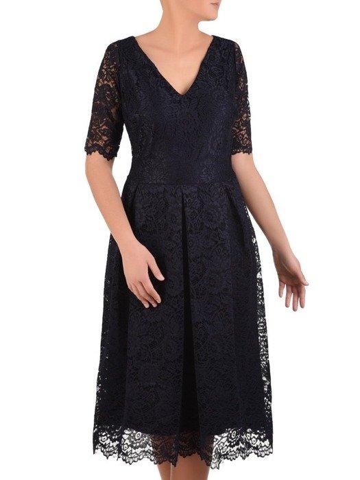 Rozkloszowana sukienka z koronki, modna kreacja z kontrafałdą 22637