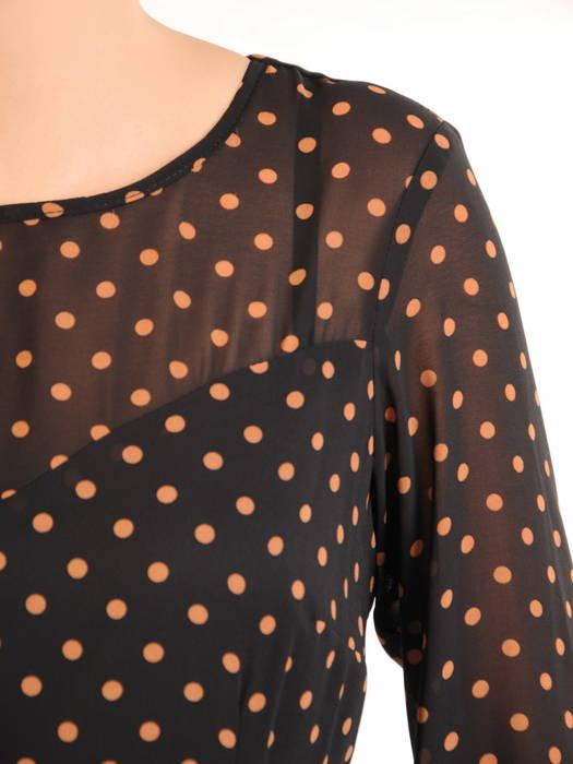 Rozkloszowana sukienka z mankietami, szyfonowa kreacja w groszki 31040