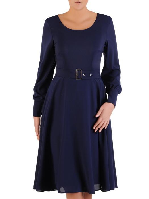 Rozkloszowana sukienka z paskiem, granatowa kreacja z szyfonu 22307