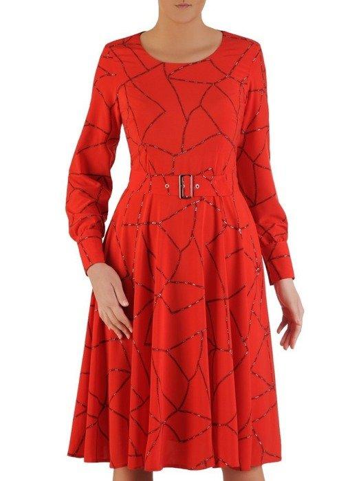 Rozkloszowana sukienka z paskiem, kreacja z brokatowym zdobieniem 24339