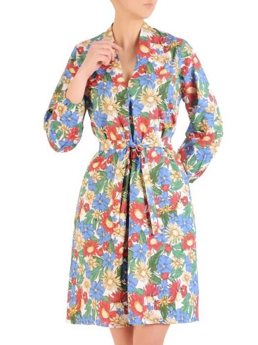 Rozkloszowana sukienka z paskiem, kreacja z gumkami na rękawach  29532