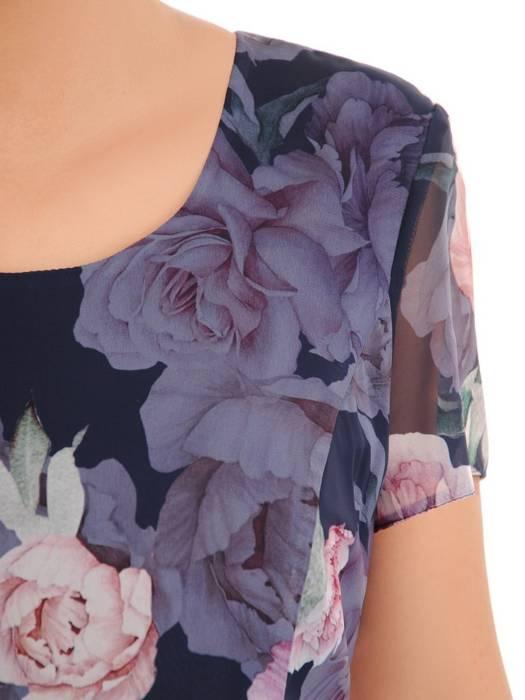 Rozkloszowana sukienka z szyfonu, kreacja w kwiaty 30550