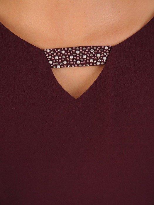 Śliwkowa sukienka z szyfonu, lekka kreacja z modnymi rękawami 23702