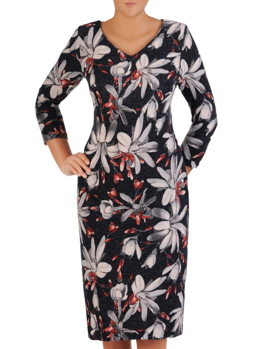 Sukienka codzienna, prosta kreacja w kwiaty 21916.