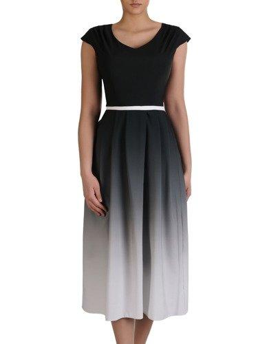 Sukienka damska 15315, zwiewna kreacja w wyszczuplającym wzorze.