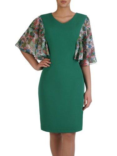 Sukienka damska 15444, zielona kreacja z oryginalnymi rękawami w kwiaty.
