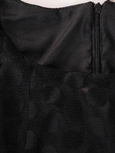 Sukienka damska 15519, czarna kreacja w groszki.