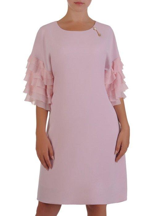 Sukienka damska 16866, pudrowa kreacja z modnymi rękawami.